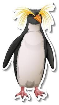 Een stickersjabloon van een pinguïn-stripfiguur