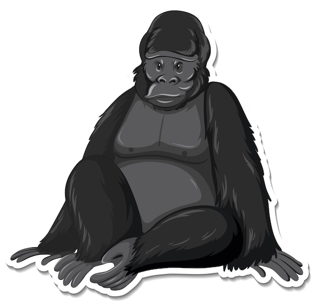 Een stickersjabloon van een stripfiguur van een aap