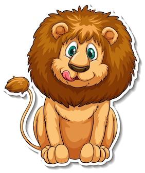 Een stickersjabloon van een stripfiguur van een leeuw