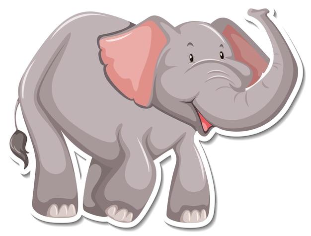 Een stickersjabloon van een stripfiguur van een olifant