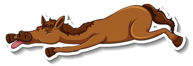 Een stickersjabloon van een stripfiguur van een paard