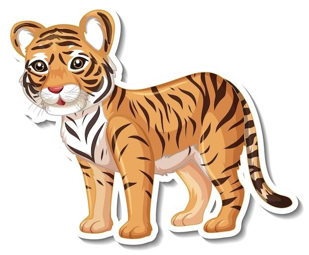 Een stickersjabloon van een stripfiguur van een tijger