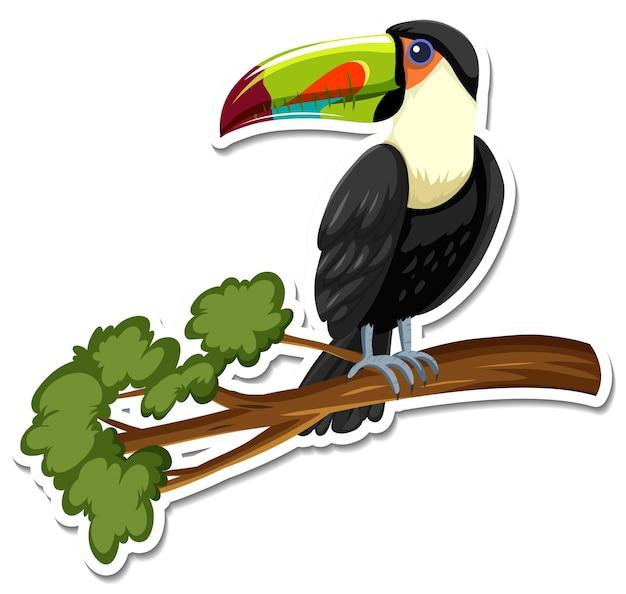 Een stickersjabloon van een stripfiguur van een toekan