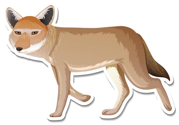 Een stickersjabloon van een stripfiguur van een vos
