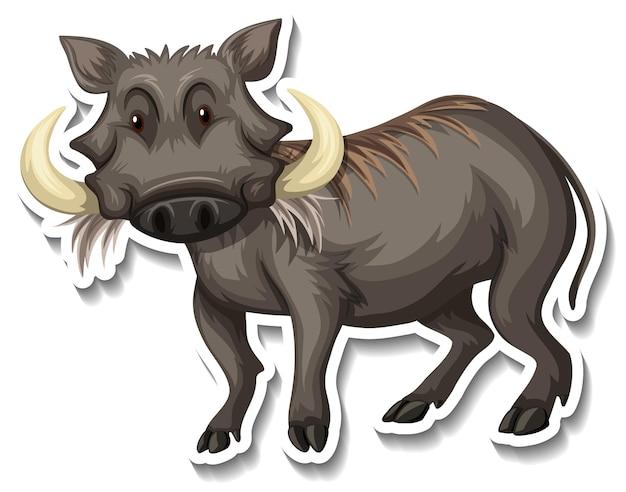 Een stickersjabloon van een stripfiguur van een wrattenzwijn