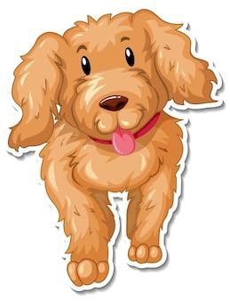 Een stickersjabloon van een stripfiguur voor een hond