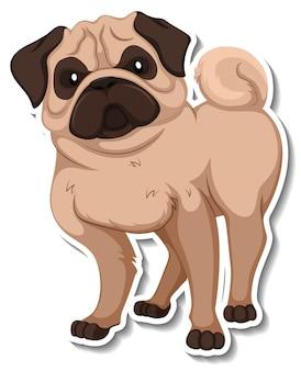 Een stickersjabloon van een stripfiguur voor honden