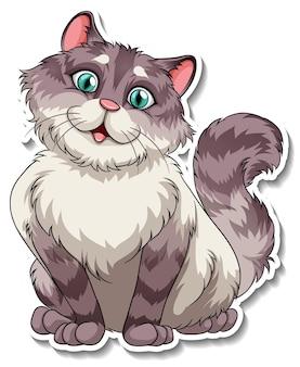 Een stickersjabloon van een stripfiguur voor katten