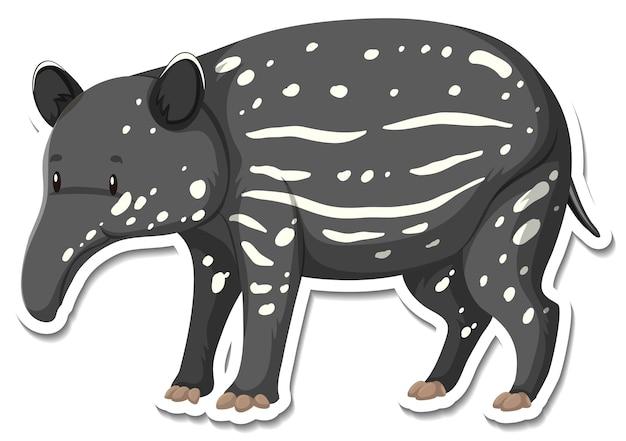 Een stickersjabloon van een tapir-stripfiguur