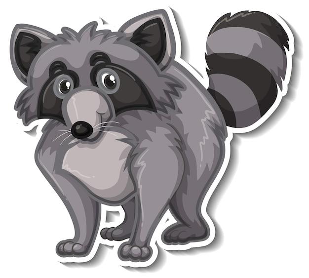 Een stickersjabloon van een wasbeer-stripfiguur