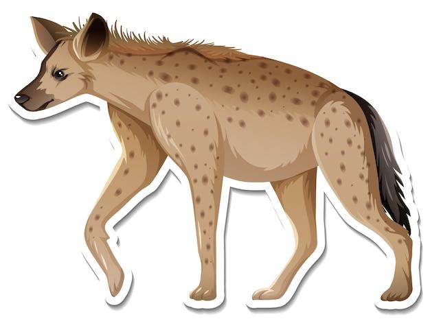 Een stickersjabloon van hyena-stripfiguur