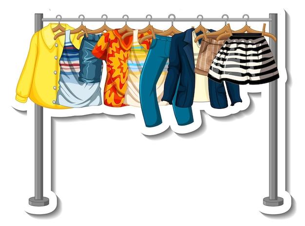 Een stickersjabloon van kledingrekken met veel kleding op hangers op witte achtergrond
