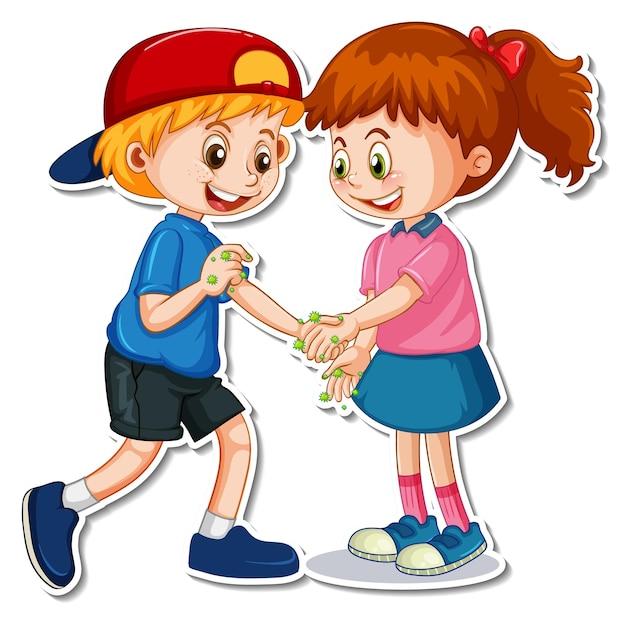 Een stickersjabloon van twee mensen die handen schudden met bacteriën en virussen