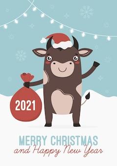 Een stier met een zak met geschenken, chinees nieuwjaarssymbool os. vrolijk kerstfeest. ansichtkaarten of posters