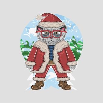 Een stoere kat met bril in een kerstkostuum