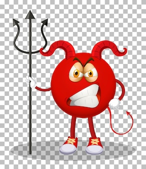 Een stripfiguur van de rode duivel met gezichtsuitdrukking op rasterachtergrond