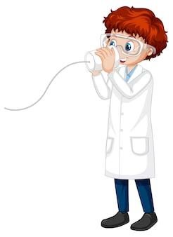 Een stripfiguur van een jongen die een laboratoriumjas draagt