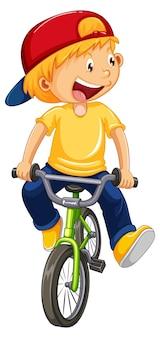 Een stripfiguur van een jongen met een pet op een fiets