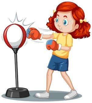 Een stripfiguur van een meisje die boksoefening doet