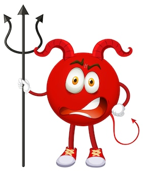Een stripfiguur van een rode duivel met gezichtsuitdrukking Gratis Vector