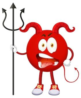 Een stripfiguur van een rode duivel met gezichtsuitdrukking