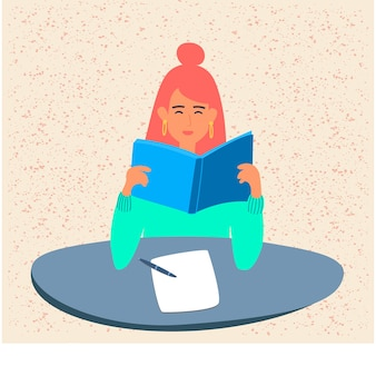 Een student leest een boek, bereidt zich voor op examens of een schooltest aan de universiteit. een jong meisje houdt een leerboek vast. een tiener bestudeert een leerboek. platte vectorillustratie in cartoon-stijl. met betrekking tot
