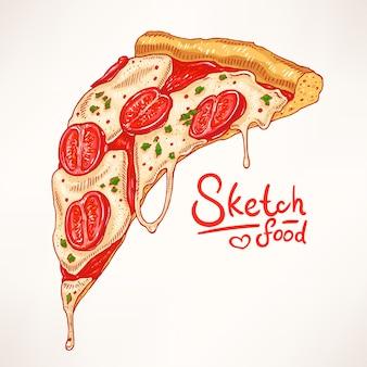 Een stuk handgetekende smakelijke pizza met margherita