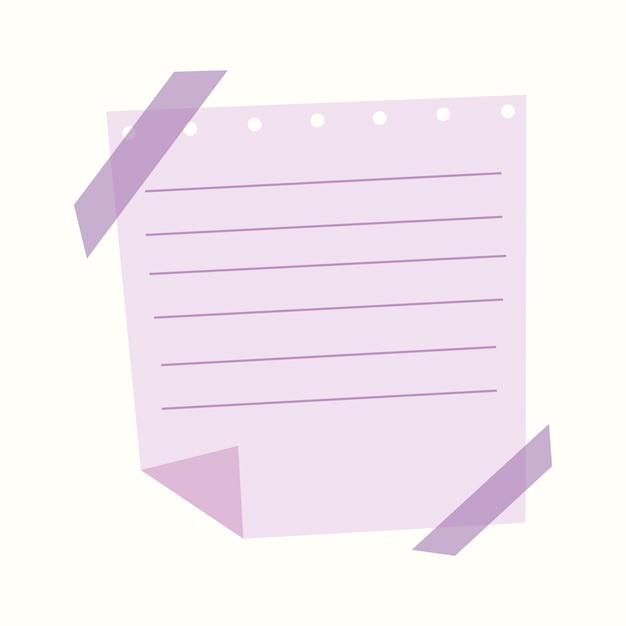 Een stuk papier in een lijn op plakband. vectorillustratie in vlakke stijl