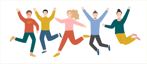 Een succesvol teamwerk springt en verheugt zich.