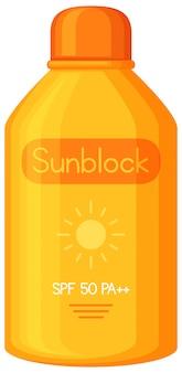 Een sunblock op witte achtergrond