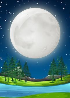 Een supermoon-nachtscène
