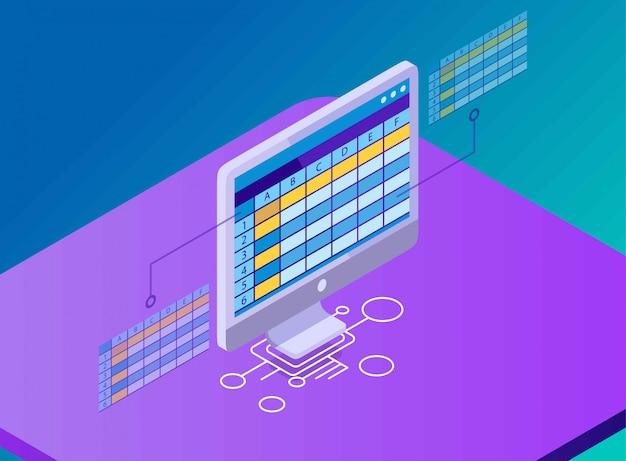 Een tabel met kolommen in een werkblad op een computerscherm, isometrische illustratie