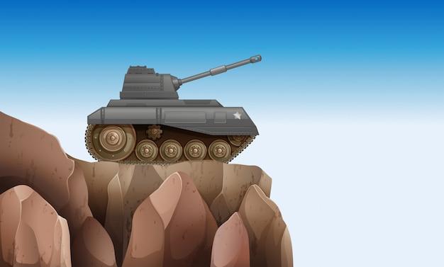 Een tank bij de klif