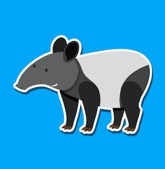 Een tapir-stickerkarakter