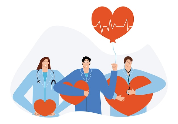 Een team van cardiologen behandelt het hart en verleent online zorg ambulance