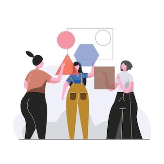 Een team van mensen assembleert een puzzel illustratie