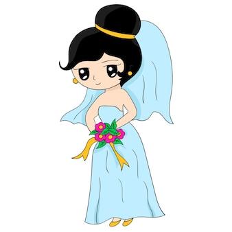 Een tekenfilmbruid in een sierlijke jurk