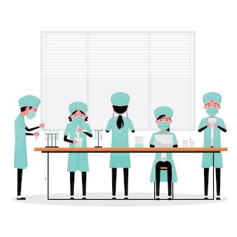 Een tekenfilmreeks van medisch personeel of onderzoeker die werkt tijdens covid-19 of het coronavirus