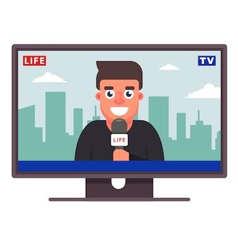 Een televisiecorrespondent vertelt het nieuws. vrolijke journalist. vlak