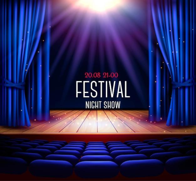 Een theaterpodium met een blauw gordijn en een spotlight. festival nacht show poster. vector.