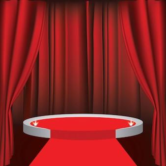 Een theaterpodium met een rood gordijn