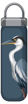 Een thermosfles met blauw pelikaanpatroon