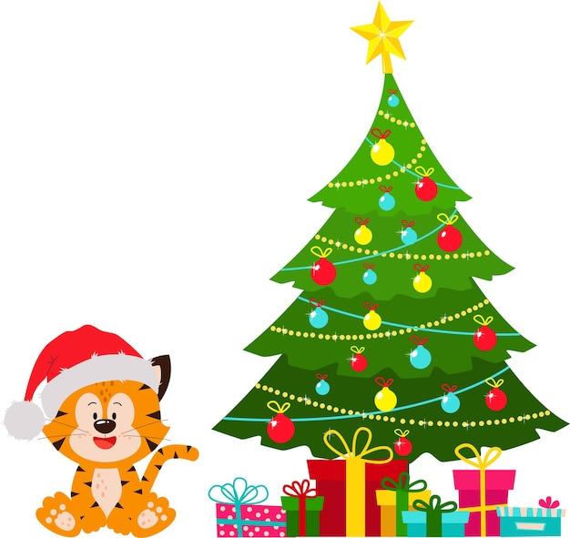 Een tijger met een hoed zit bij de kerstboom met cadeautjes