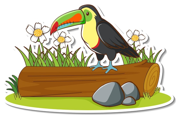 Een toekanvogel die op een boomstamsticker staat