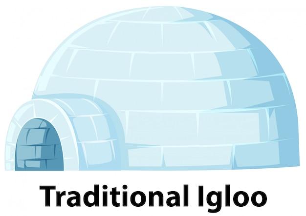 Een traditionele iglo op witte achtergrond