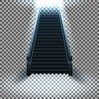 Een trap met treden die naar het licht leiden op een transparante achtergrond