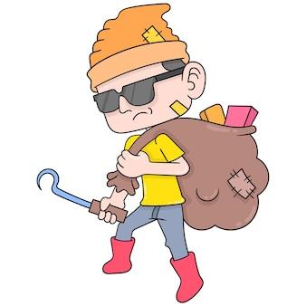Een trashy aasetermens die een zak draagt die met gebruikte goederen wordt gevuld, vectorillustratieart. doodle pictogram afbeelding kawaii.