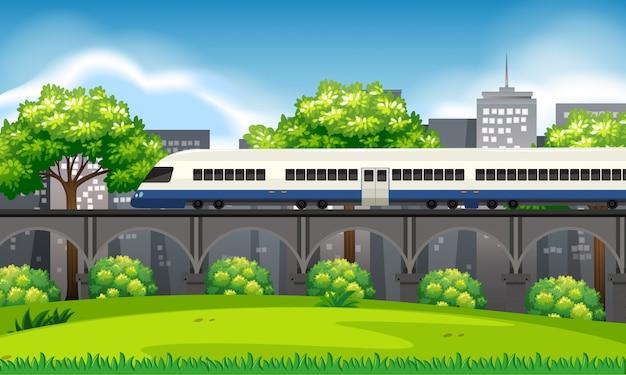 Een trein in de stadscène