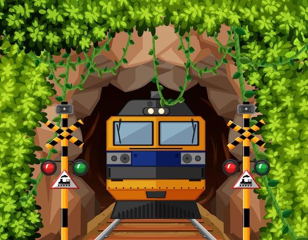 Een trein in de tunnel