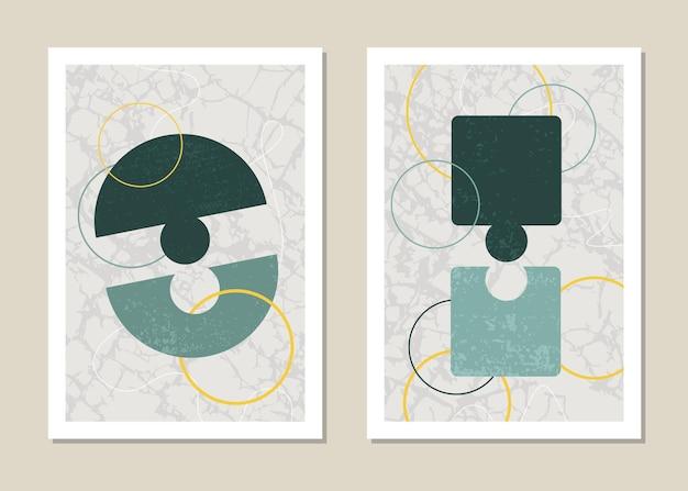 Een trendy set puzzels met abstracte geometrische vormen